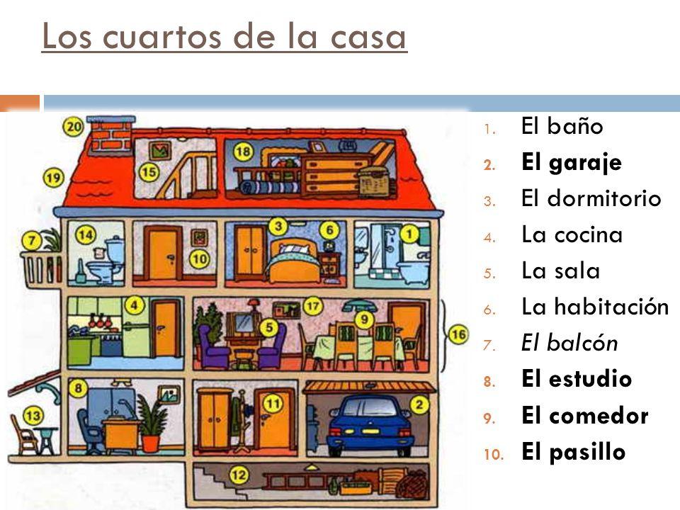 Los cuartos de la casa El baño El garaje El dormitorio La cocina