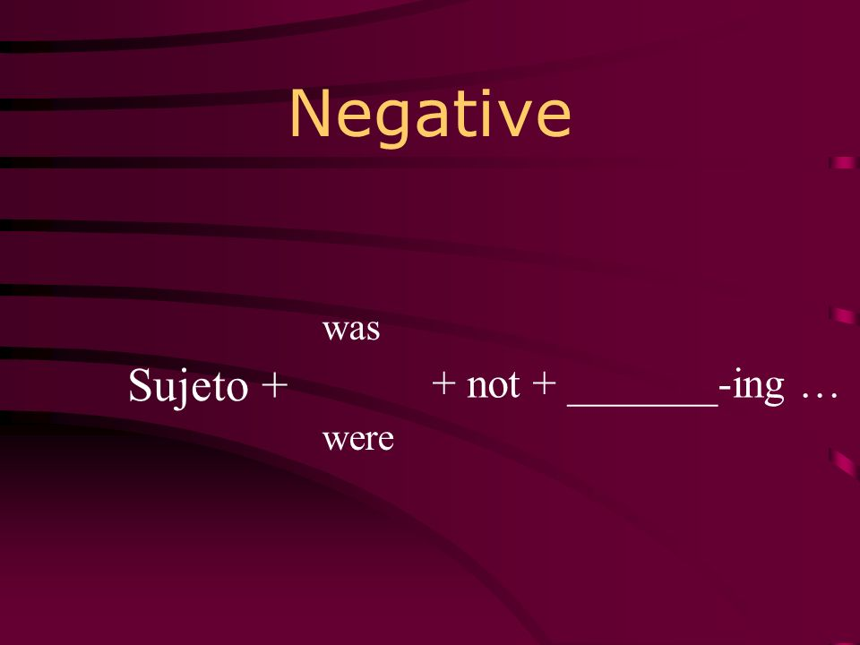 Negative was were Sujeto + + not + _______-ing …