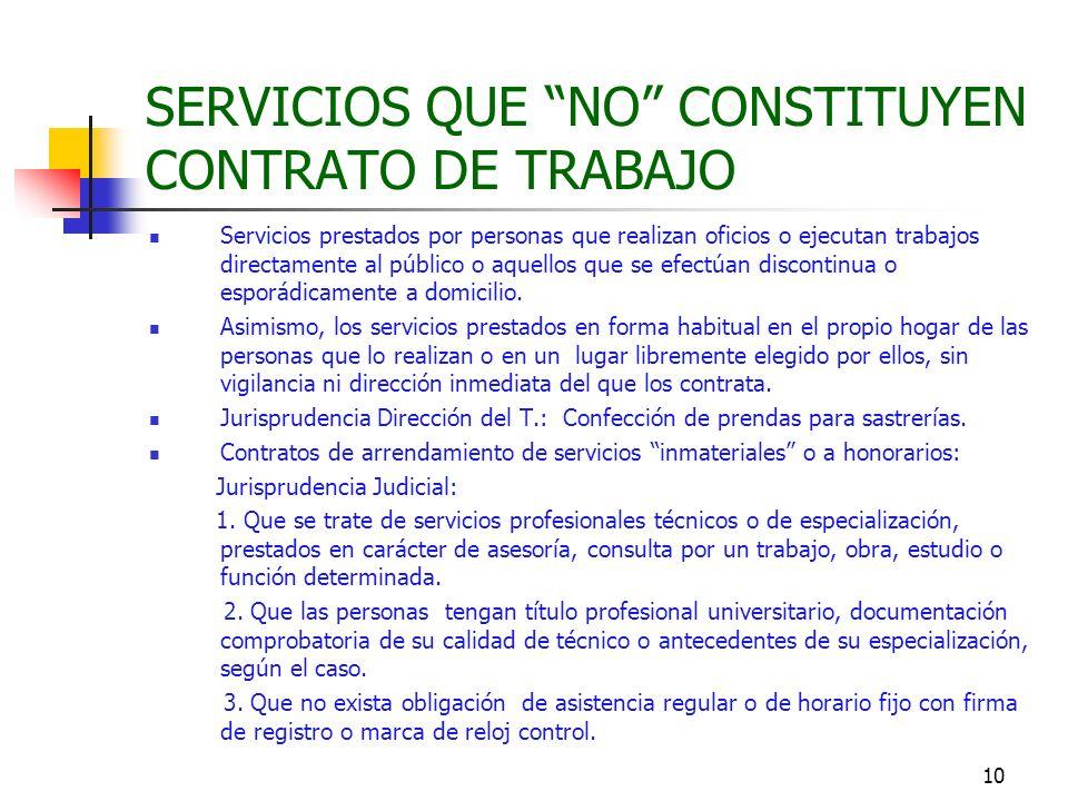 SERVICIOS QUE NO CONSTITUYEN CONTRATO DE TRABAJO