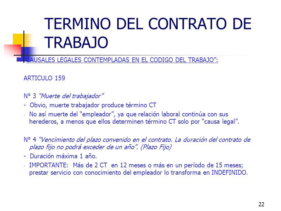TERMINO DEL CONTRATO DE TRABAJO