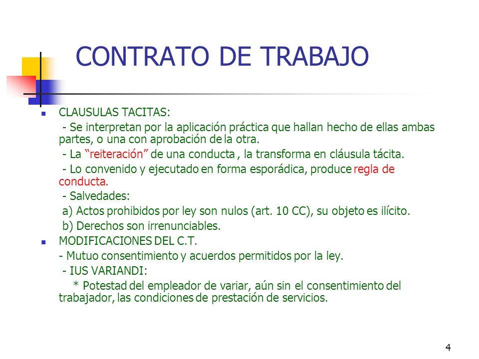 CONTRATO DE TRABAJO CLAUSULAS TACITAS: