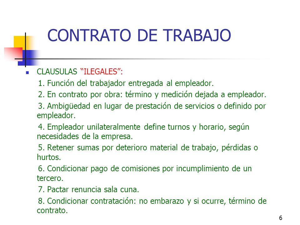 CONTRATO DE TRABAJO CLAUSULAS ILEGALES :