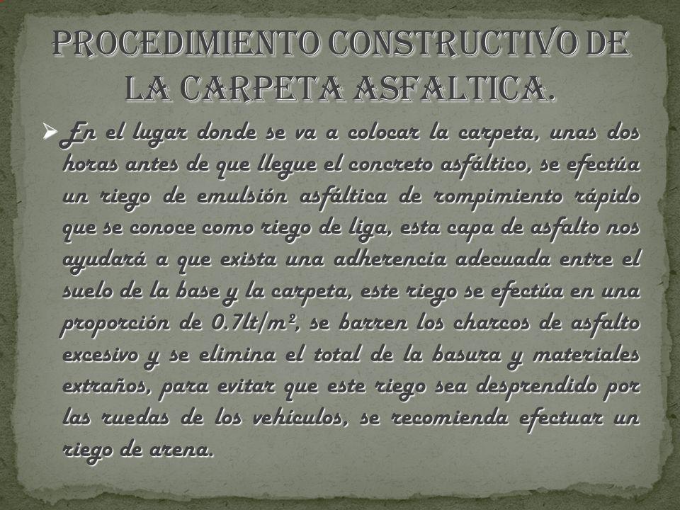PROCEDIMIENTO CONSTRUCTIVO DE LA CARPETA ASFALTICA.