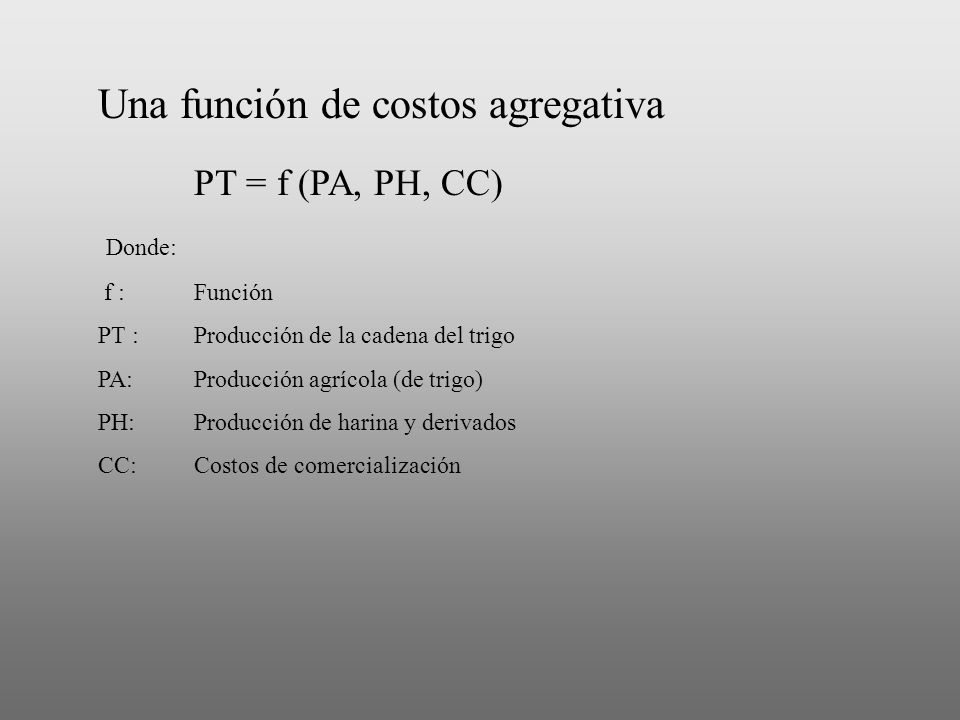 Una función de costos agregativa PT = f (PA, PH, CC)