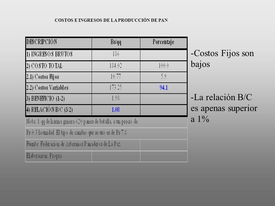 COSTOS E INGRESOS DE LA PRODUCCIÓN DE PAN