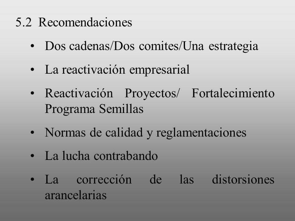 5.2 Recomendaciones Dos cadenas/Dos comites/Una estrategia. La reactivación empresarial. Reactivación Proyectos/ Fortalecimiento Programa Semillas.