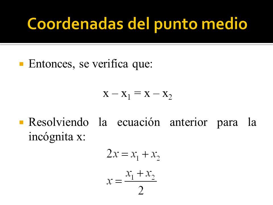 Coordenadas del punto medio