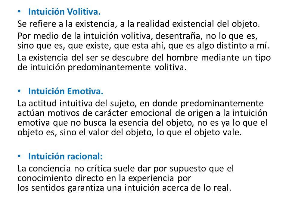 Intuición Volitiva. Se refiere a la existencia, a la realidad existencial del objeto.