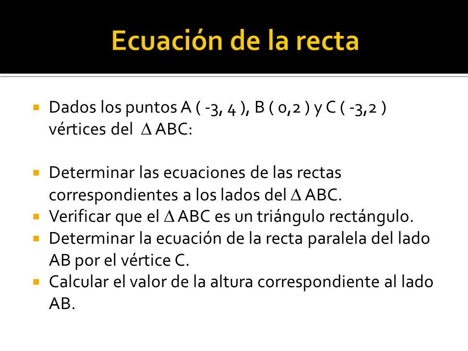 Ecuación de la recta Dados los puntos A ( -3, 4 ), B ( 0,2 ) y C ( -3,2 ) vértices del  ABC:
