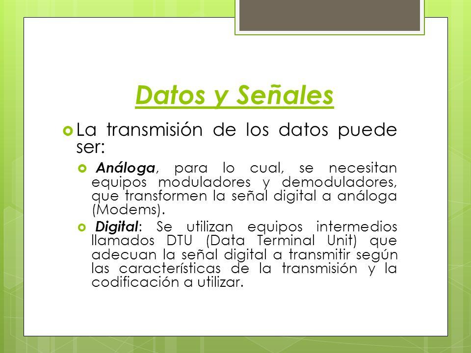 Datos y Señales La transmisión de los datos puede ser: