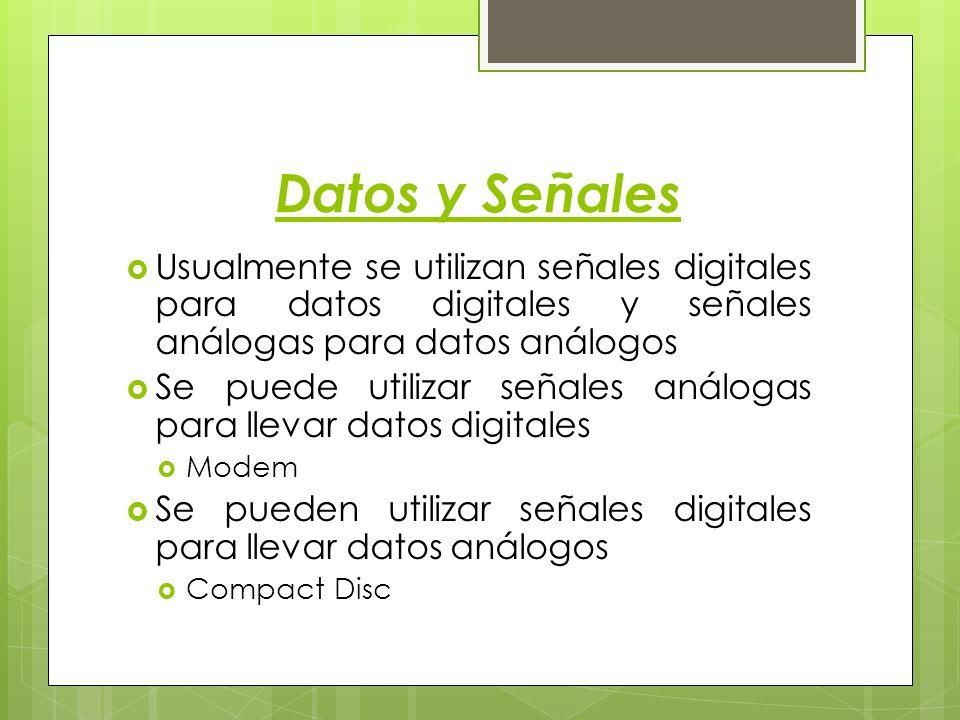 Datos y Señales Usualmente se utilizan señales digitales para datos digitales y señales análogas para datos análogos.