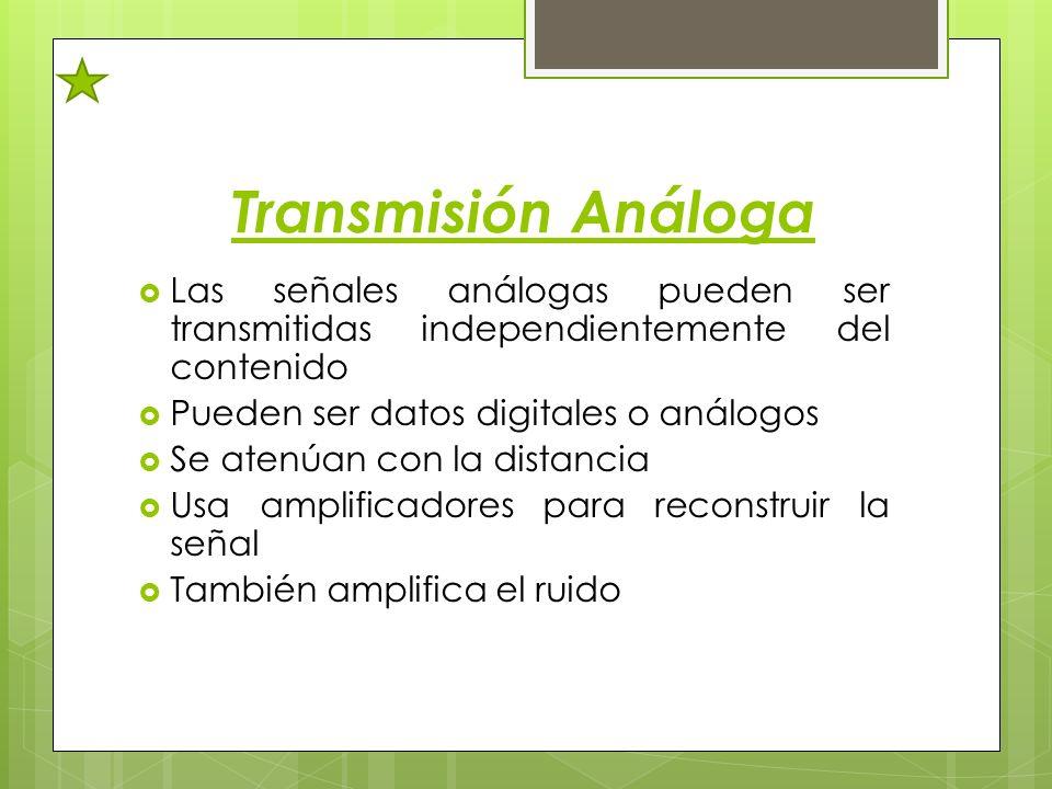 Transmisión Análoga Las señales análogas pueden ser transmitidas independientemente del contenido. Pueden ser datos digitales o análogos.