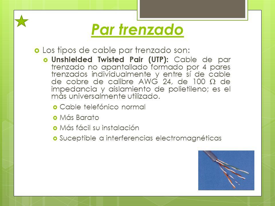 Par trenzado Los tipos de cable par trenzado son: