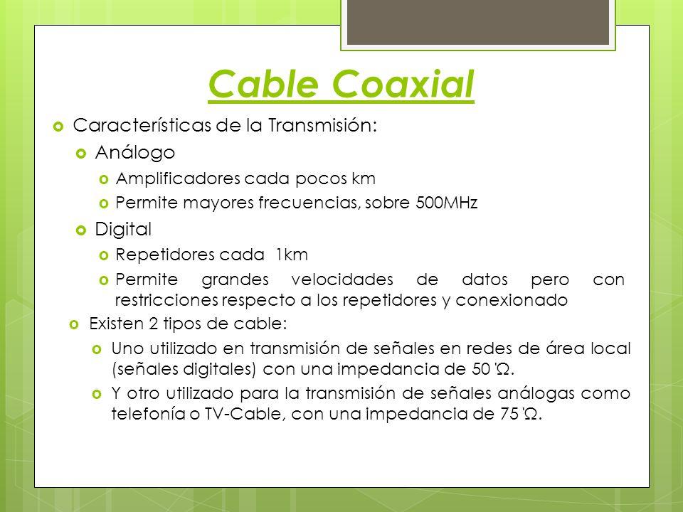 Cable Coaxial Características de la Transmisión: Análogo Digital