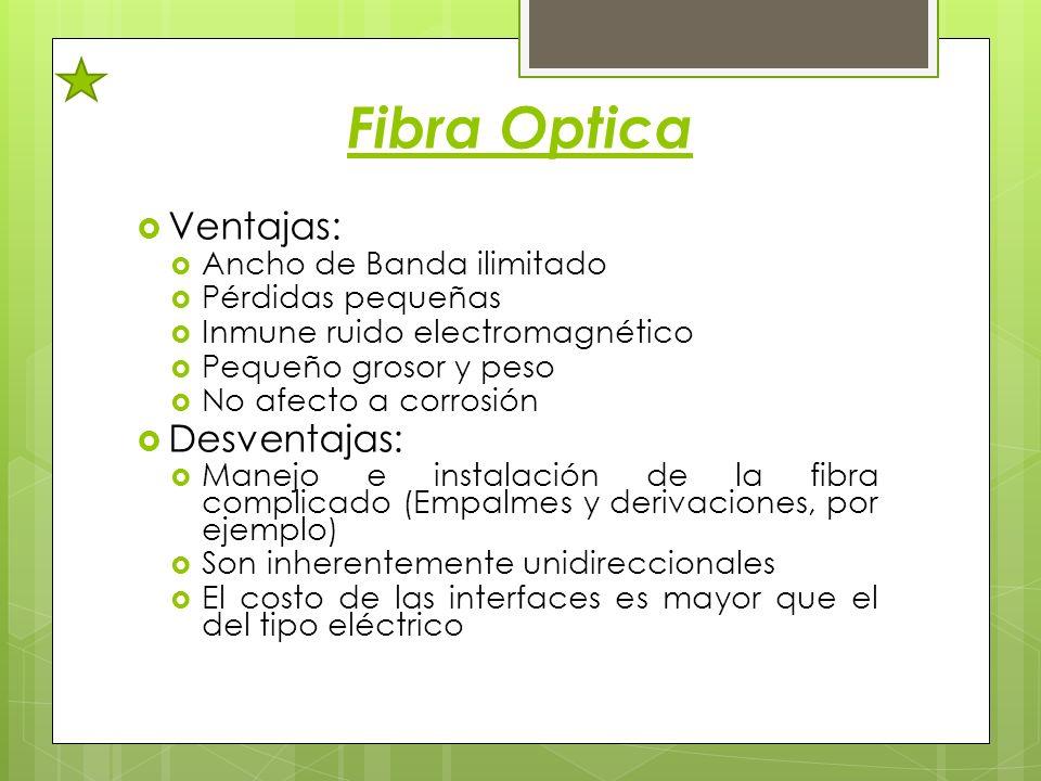 Fibra Optica Ventajas: Desventajas: Ancho de Banda ilimitado