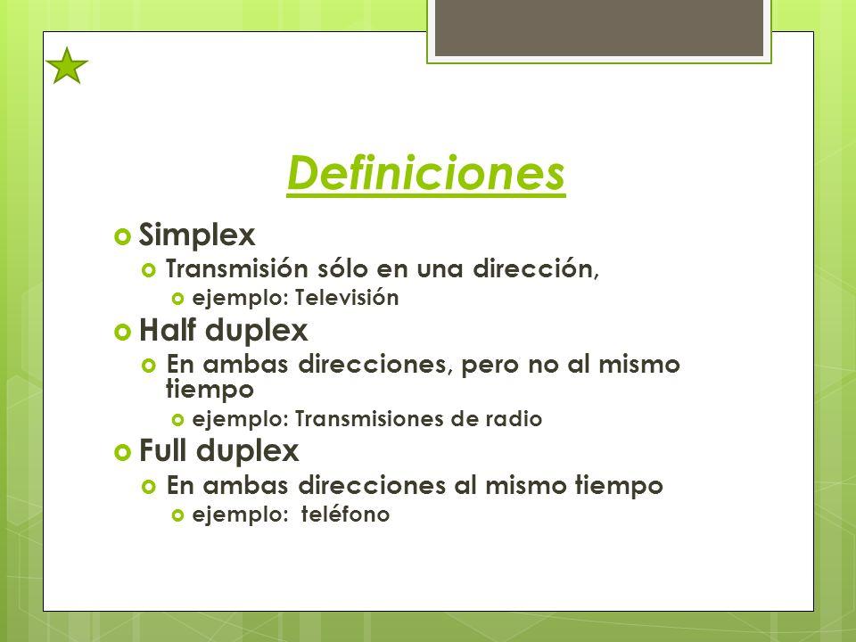 Definiciones Simplex Half duplex Full duplex