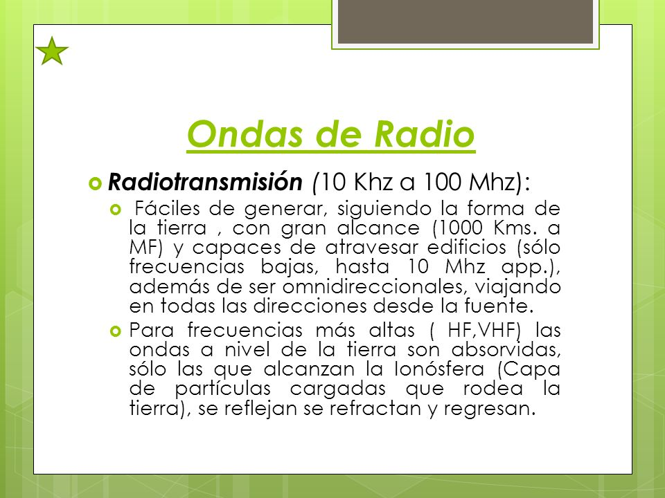 Ondas de Radio Radiotransmisión (10 Khz a 100 Mhz):