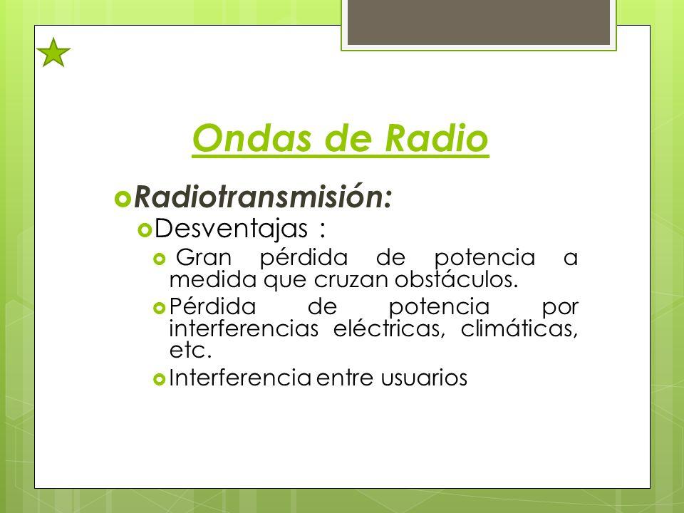 Ondas de Radio Radiotransmisión: Desventajas :