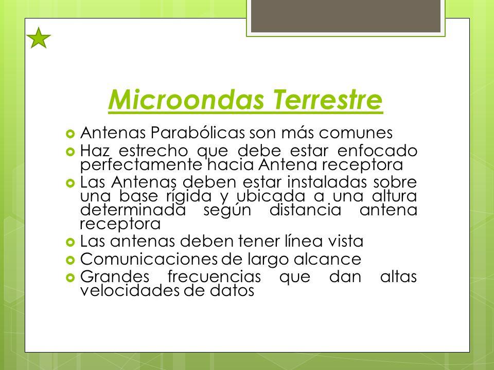 Microondas Terrestre Antenas Parabólicas son más comunes