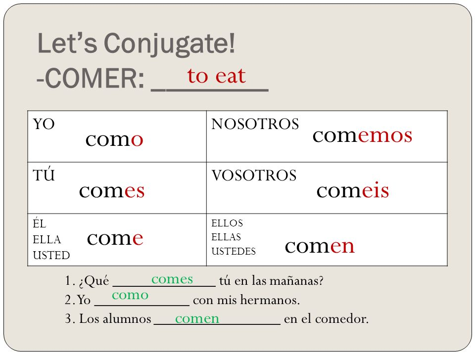 how to say come in spanish