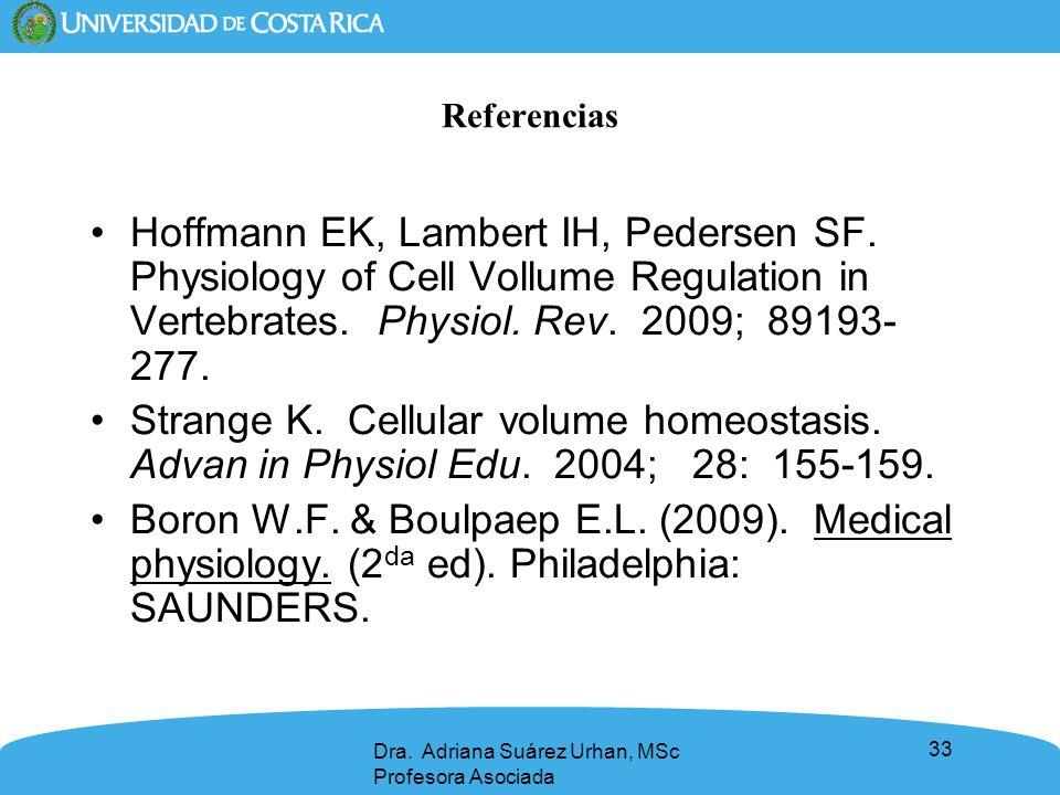 Referencias Hoffmann EK, Lambert IH, Pedersen SF. Physiology of Cell Vollume Regulation in Vertebrates. Physiol. Rev. 2009; 89193-277.