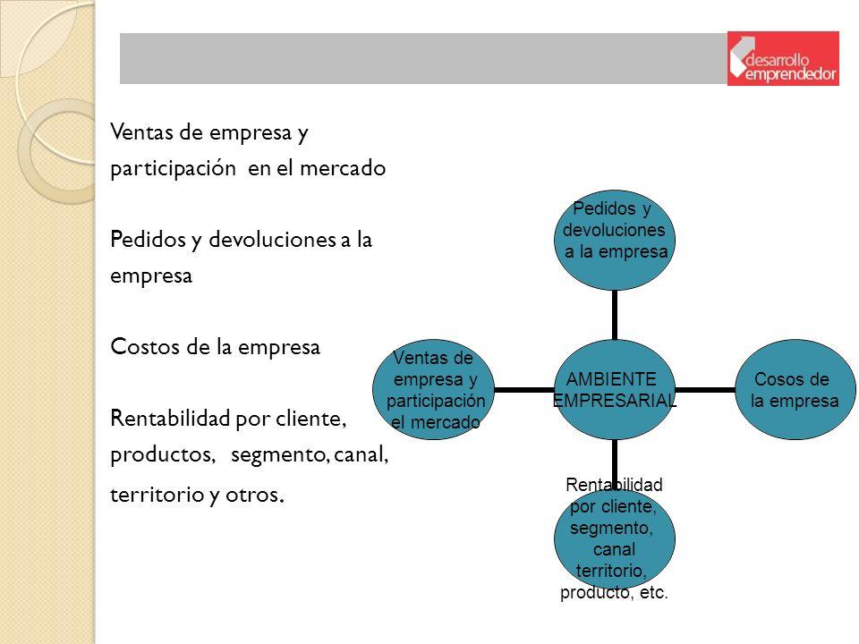 Ventas de empresa y participación en el mercado. Pedidos y devoluciones a la. empresa. Costos de la empresa.