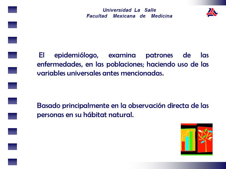 El epidemiólogo, examina patrones de las enfermedades, en las poblaciones; haciendo uso de las variables universales antes mencionadas.