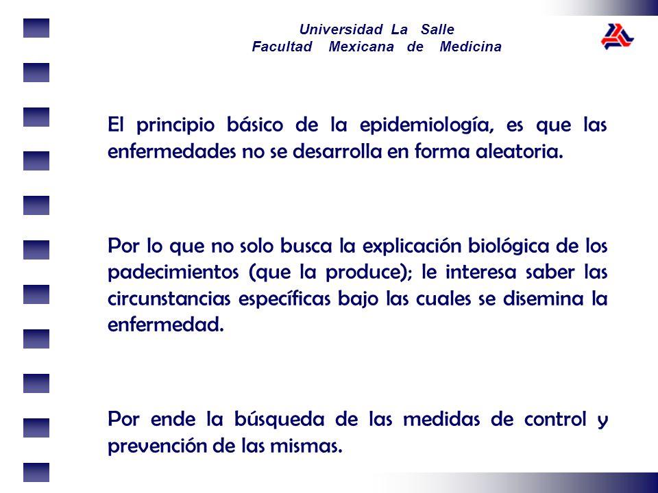 El principio básico de la epidemiología, es que las enfermedades no se desarrolla en forma aleatoria.