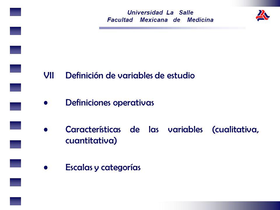 VII Definición de variables de estudio