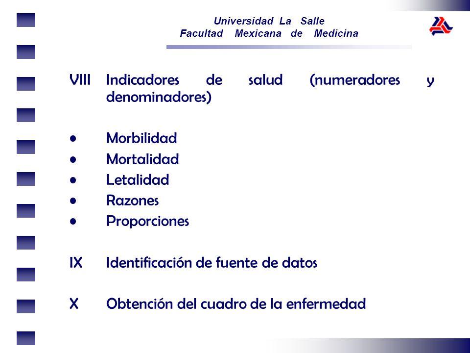 VIII Indicadores de salud (numeradores y denominadores)