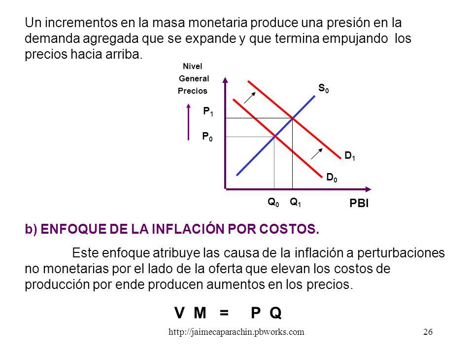 Un incrementos en la masa monetaria produce una presión en la demanda agregada que se expande y que termina empujando los precios hacia arriba.