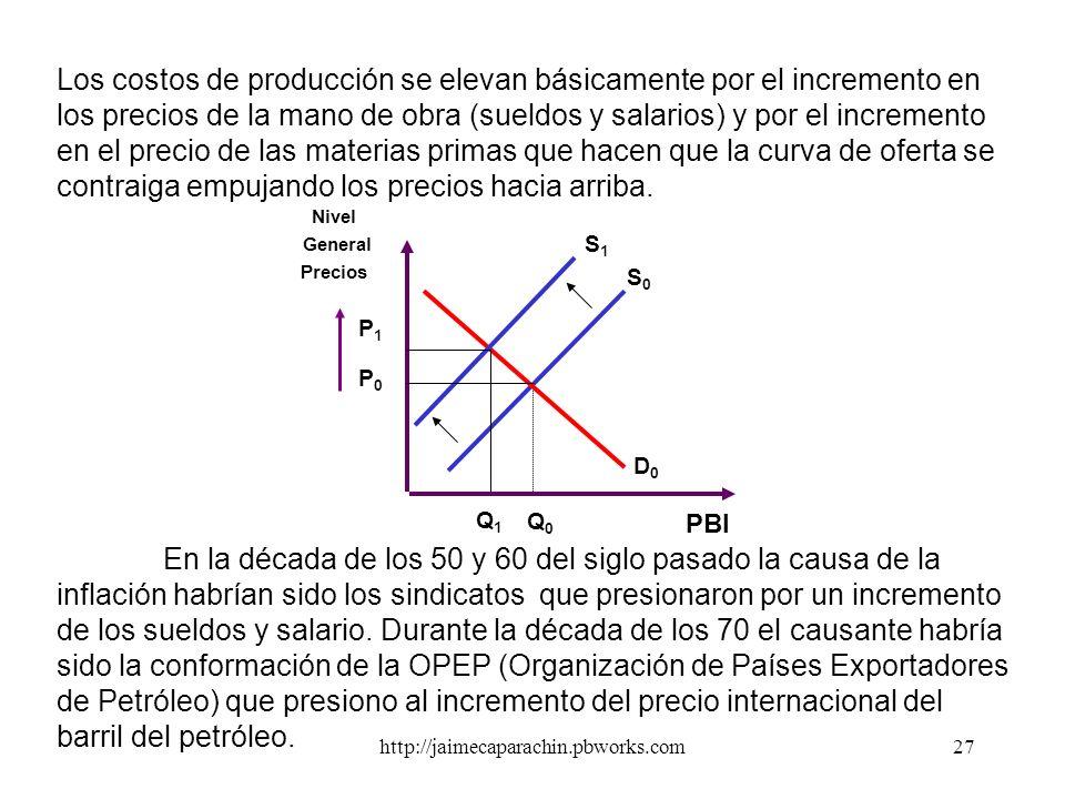 Los costos de producción se elevan básicamente por el incremento en los precios de la mano de obra (sueldos y salarios) y por el incremento en el precio de las materias primas que hacen que la curva de oferta se contraiga empujando los precios hacia arriba.
