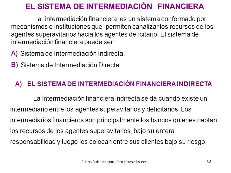A) EL SISTEMA DE INTERMEDIACIÓN FINANCIERA INDIRECTA