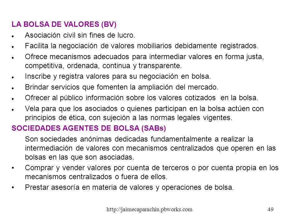 LA BOLSA DE VALORES (BV) Asociación civil sin fines de lucro.