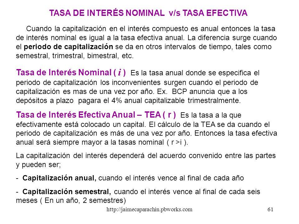 TASA DE INTERÉS NOMINAL v/s TASA EFECTIVA