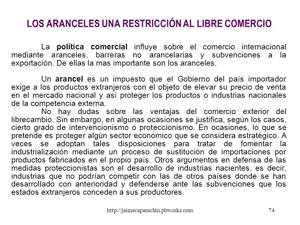 LOS ARANCELES UNA RESTRICCIÓN AL LIBRE COMERCIO