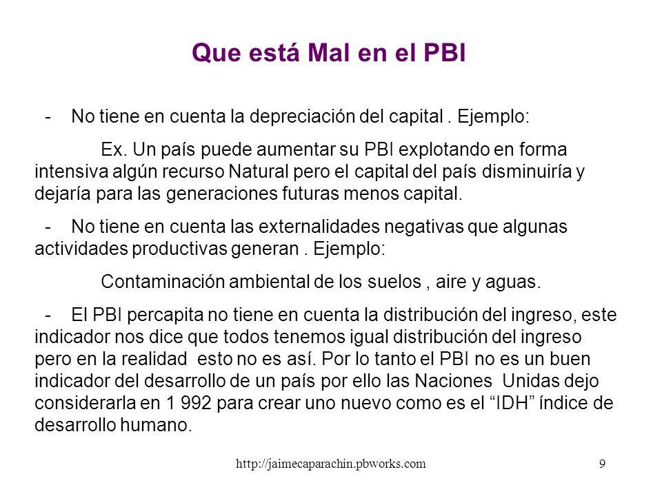 Que está Mal en el PBI - No tiene en cuenta la depreciación del capital . Ejemplo: