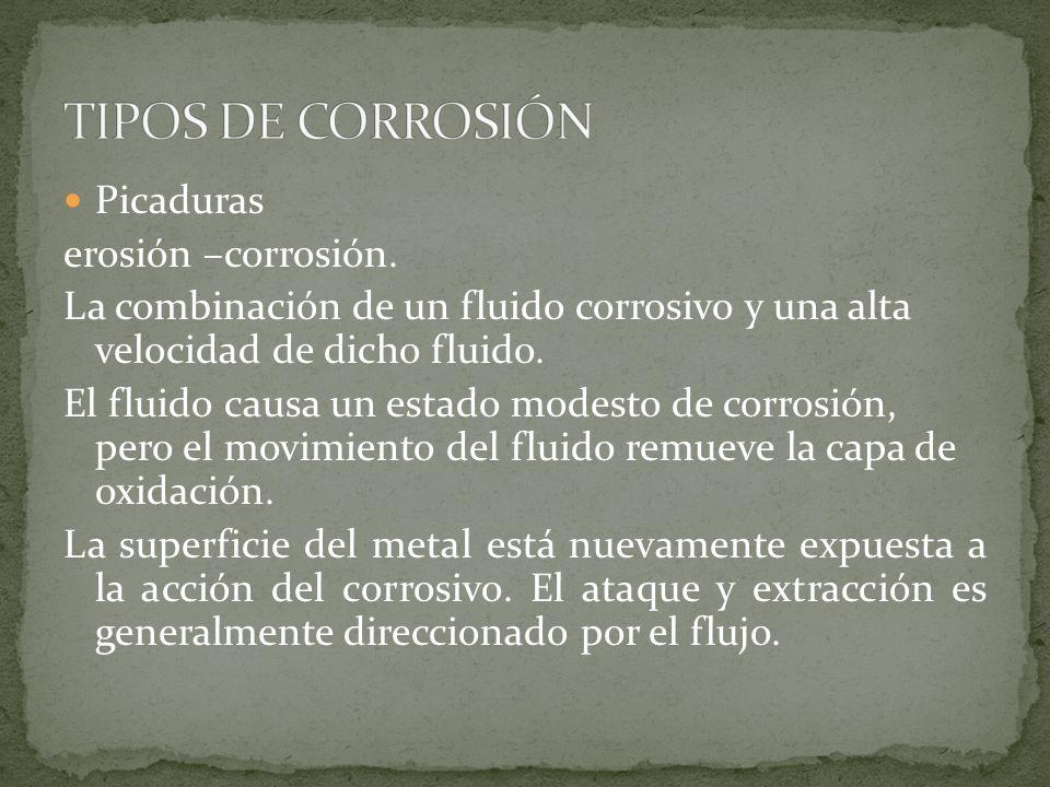 TIPOS DE CORROSIÓN Picaduras erosión –corrosión.