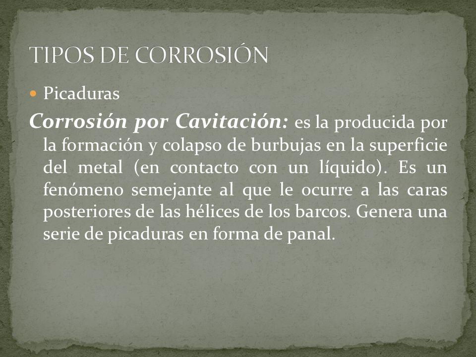 TIPOS DE CORROSIÓN Picaduras.