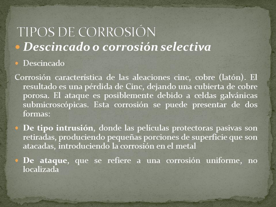 TIPOS DE CORROSIÓN Descincado o corrosión selectiva Descincado