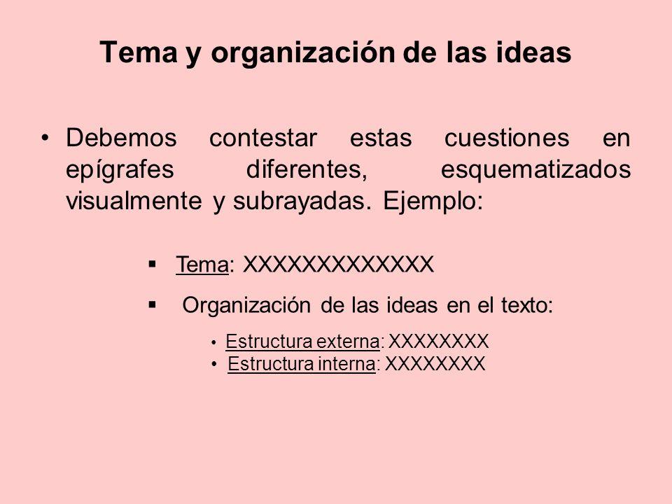 Tema y organización de las ideas