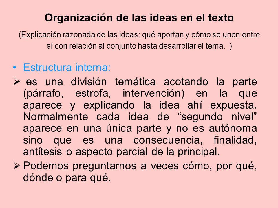 Organización de las ideas en el texto (Explicación razonada de las ideas: qué aportan y cómo se unen entre sí con relación al conjunto hasta desarrollar el tema. )