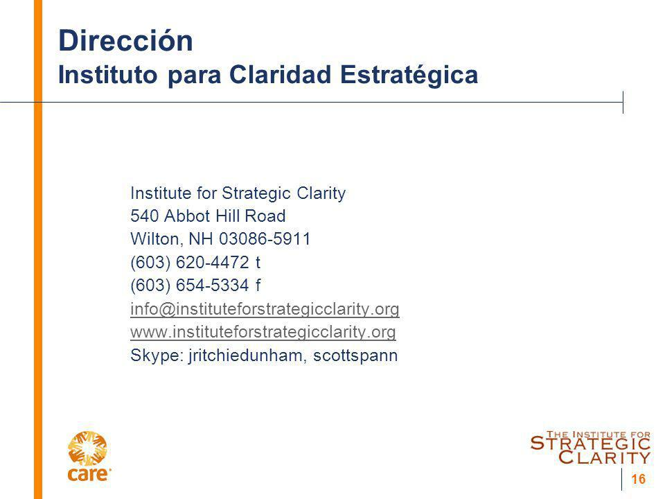 Dirección Instituto para Claridad Estratégica