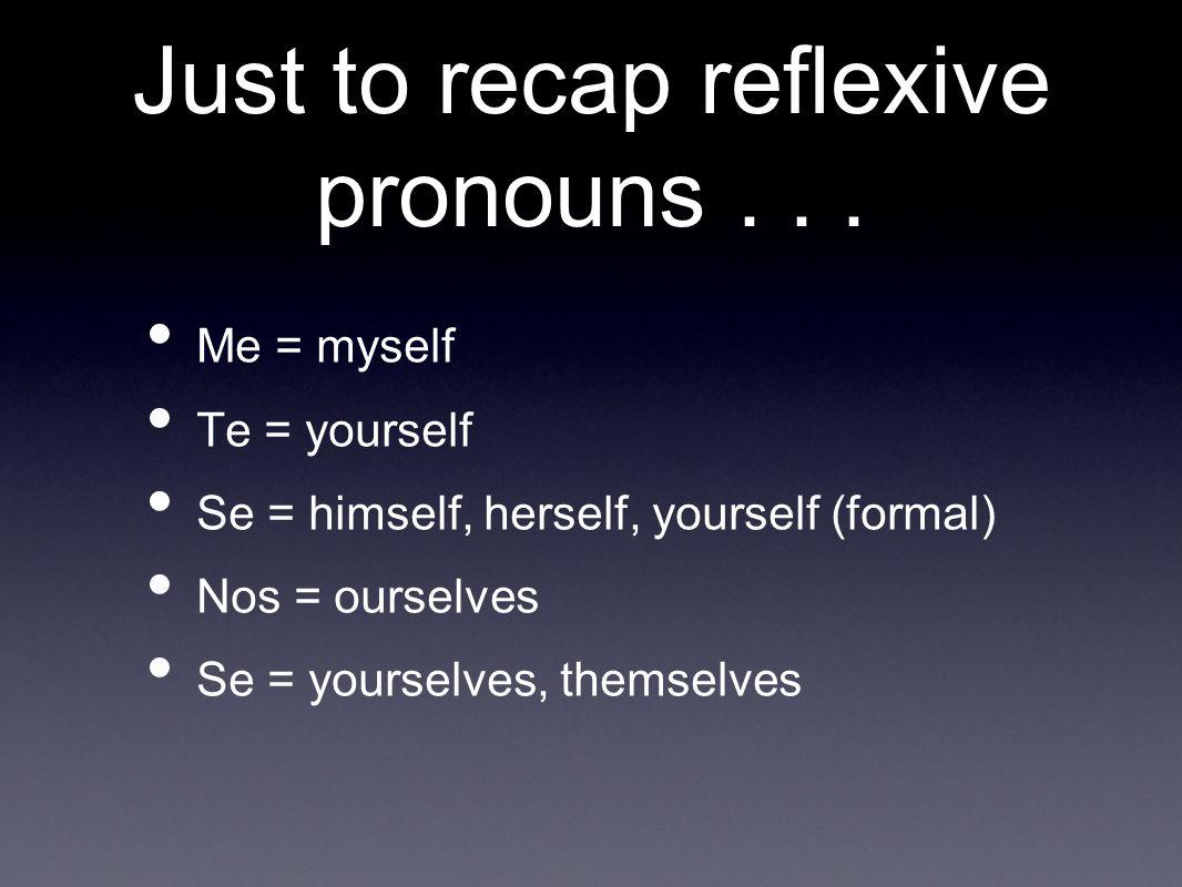 Just to recap reflexive pronouns . . .