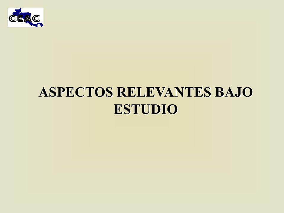 ASPECTOS RELEVANTES BAJO ESTUDIO