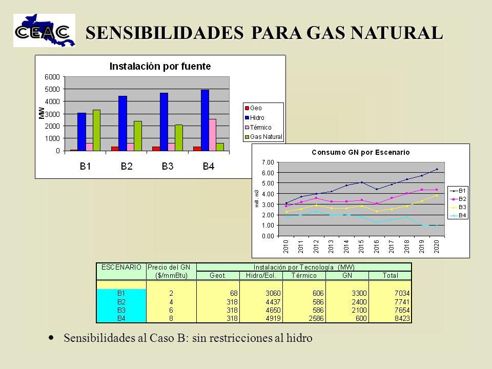 SENSIBILIDADES PARA GAS NATURAL