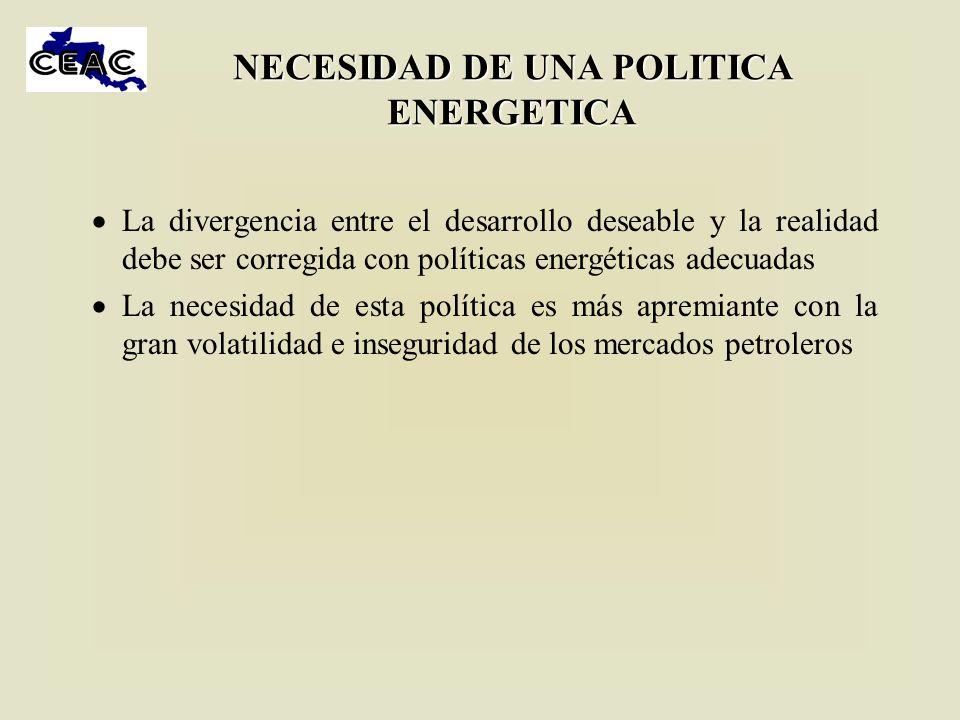 NECESIDAD DE UNA POLITICA ENERGETICA