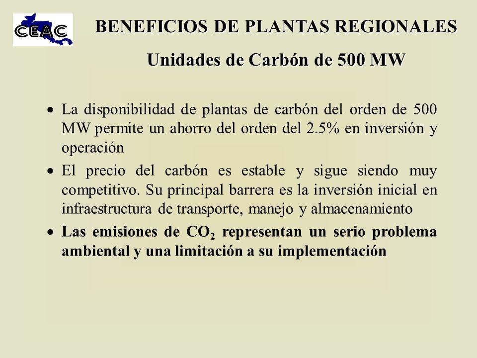 BENEFICIOS DE PLANTAS REGIONALES Unidades de Carbón de 500 MW
