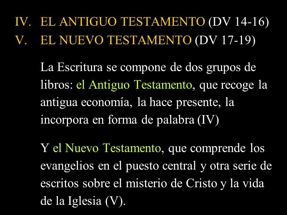 EL ANTIGUO TESTAMENTO (DV 14-16)