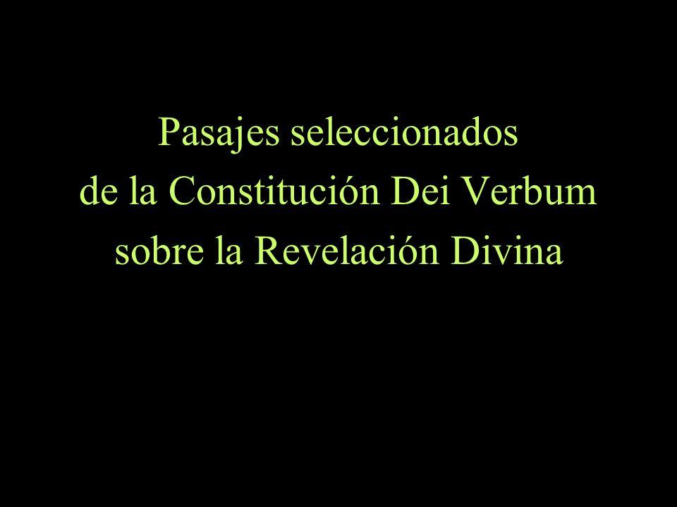 Pasajes seleccionados de la Constitución Dei Verbum
